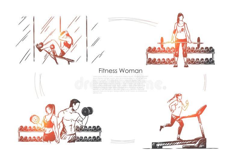 Sportsmenka opracowywa, sport aktywno??, ludzie trenuje w gym, kieratowy jogging, bodybuilding sztandar ilustracji