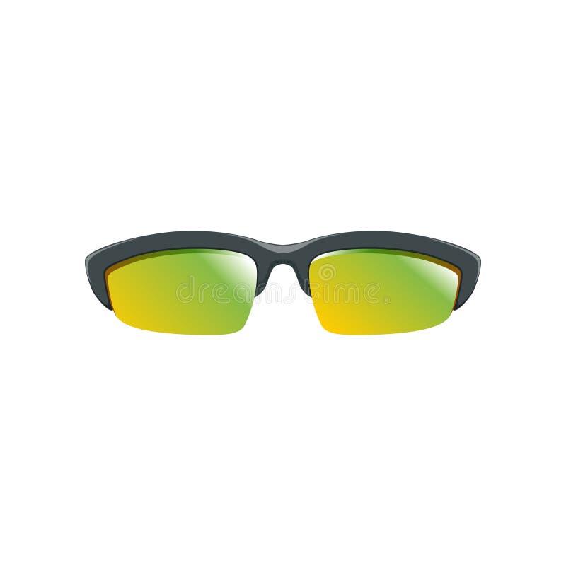Sportsolglasögon med guling-gräsplan polariserade linser och den svarta halva ramen Plan vektorsymbol av skyddande glasögon vektor illustrationer