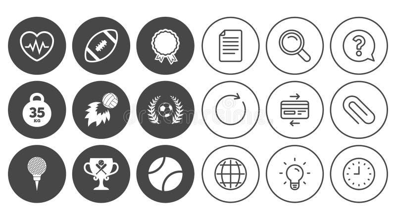 Sportspelen, fitness pictogram Voetbal, golf stock illustratie