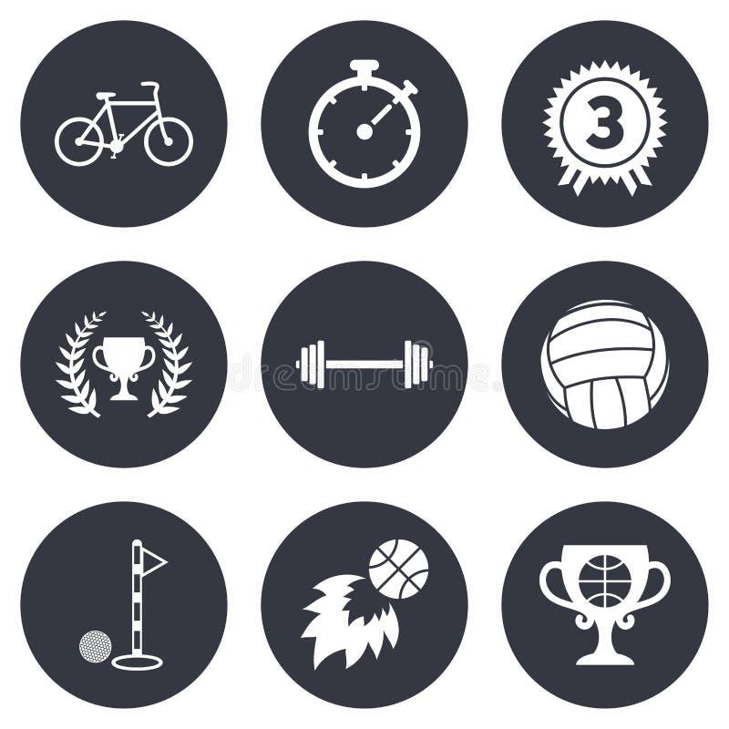Sportspiele, Eignungsikone Fahrrad, Basketball lizenzfreie abbildung
