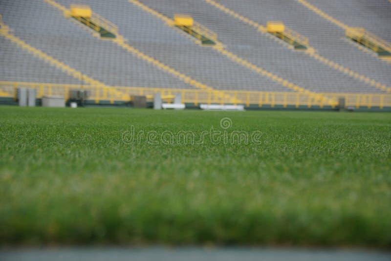 Sportstadion Grüngras Grüne Bucht stockbilder