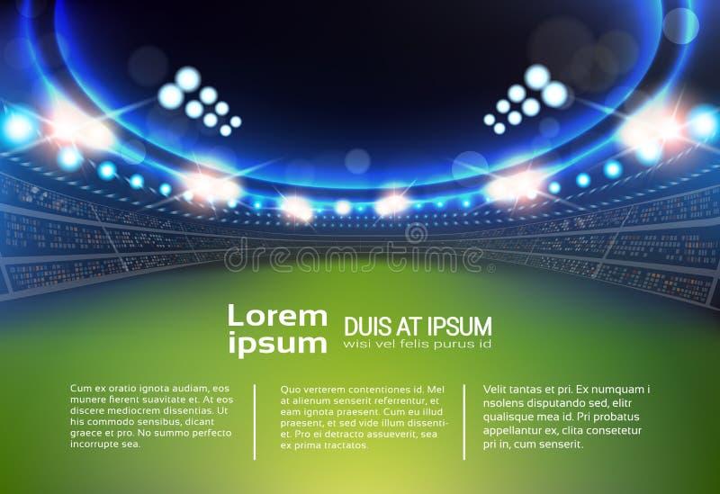 Sportstadion med ljus och tribunmallInfographic bakgrund stock illustrationer