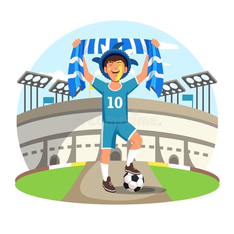Sportstadion met voetbal of voetbalventilator vector illustratie