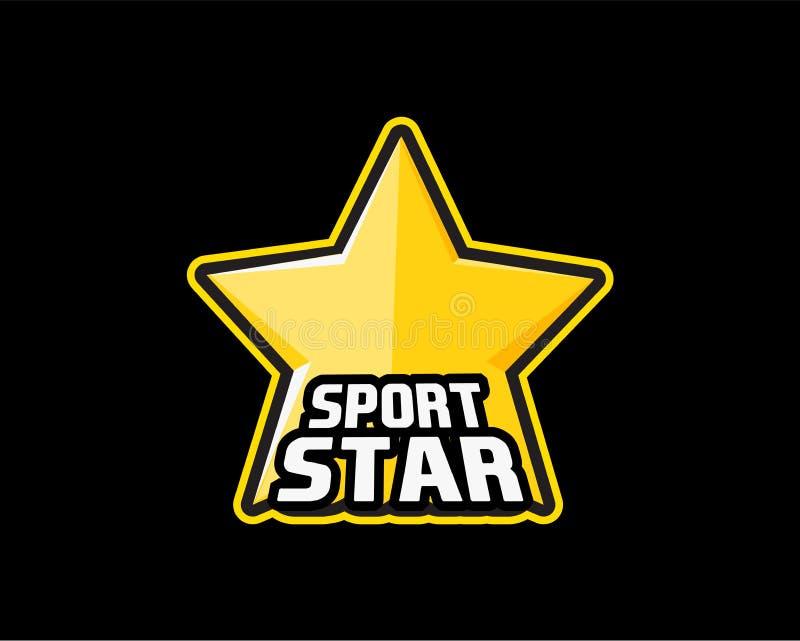 SportStar logo Gul stjärna i svart översikt som logoen för vinnare i sportkonkurrenser Vektorillustration på svart vektor illustrationer