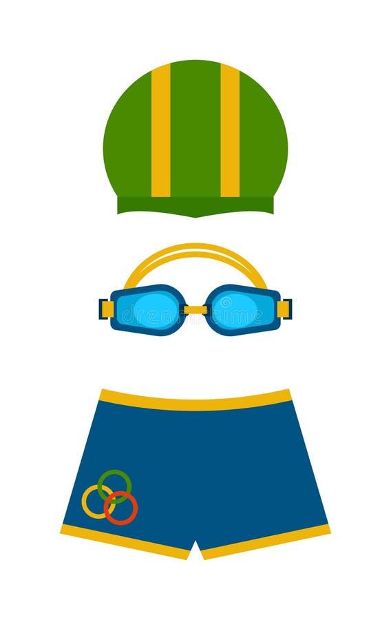 Sportswear κολυμβητών ενδυμάτων κολυμπά την προστασία χρώματος πτερυγίων για τα μάτια και το διάνυσμα καπέλων διανυσματική απεικόνιση