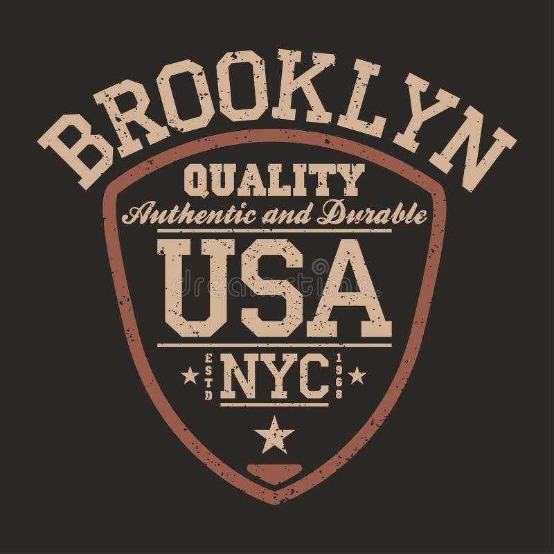 Sportswear της Νέας Υόρκης, Μπρούκλιν, ΗΠΑ έμβλημα με μορφή ασπίδων Εκλεκτής ποιότητας αθλητικό πανεπιστημιακό σχέδιο ενδυμασίας απεικόνιση αποθεμάτων