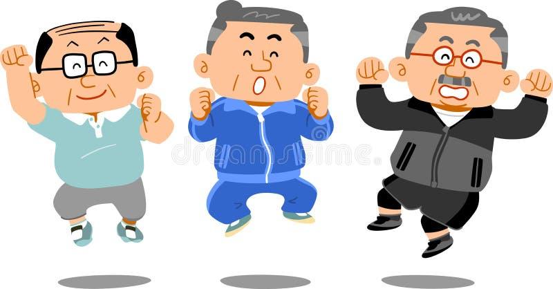 Sportswear старшего человека нося, который нужно поскакать иллюстрация штока