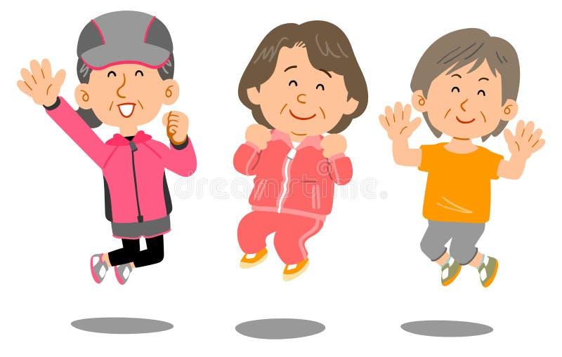 Sportswear старшей женщины нося, который нужно поскакать иллюстрация штока
