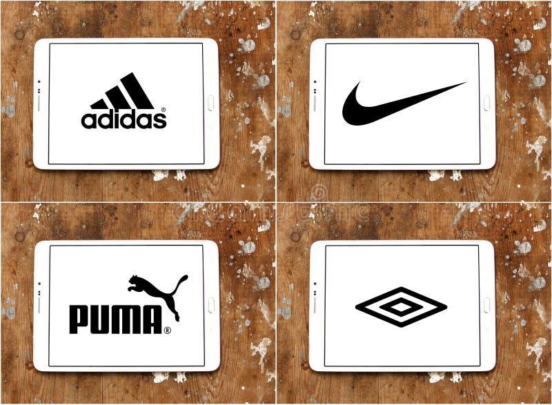 Sportswear companies brands adidas , nike , puma , umbro stock illustration