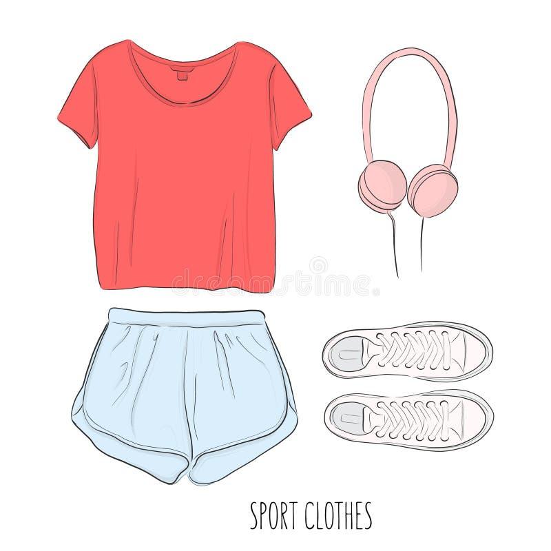 Sportsweardräkt Dendrog vektorn skissar med sportkläder: t-skjorta, kortslutningar, skor och hörlurar, Flatlay konst stock illustrationer