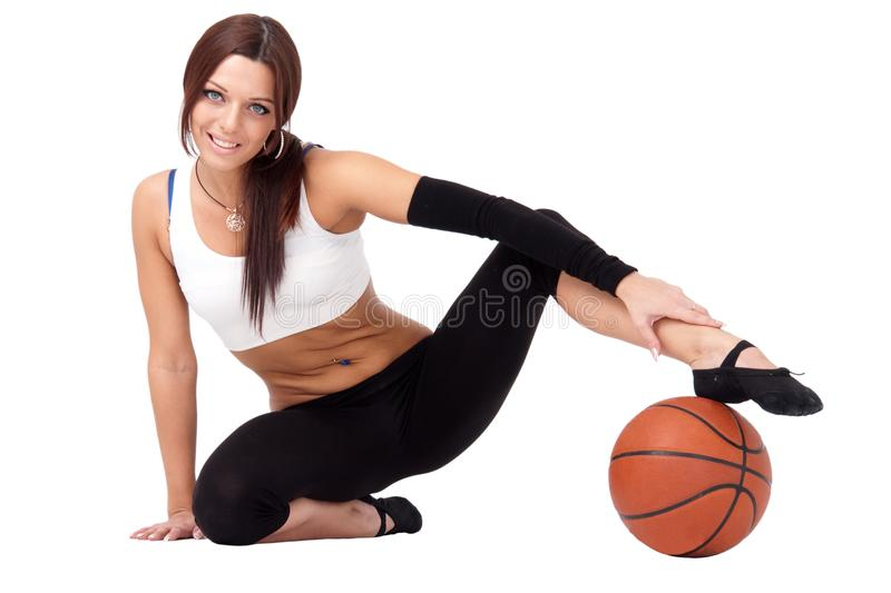 Sportswoman with basketball sitting stock images