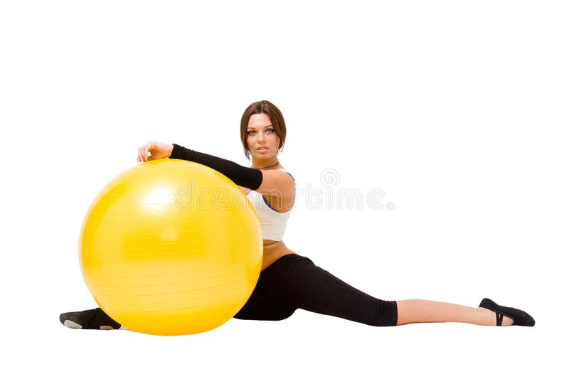 Download Sportswoman With Big Fitness Ball Stock Image - Image of cheerful, muscular: 11921979