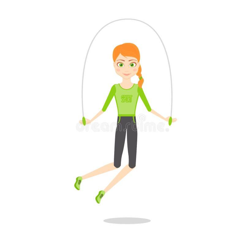 Sportswoman character. Cartoon vector flat illustration. stock illustration