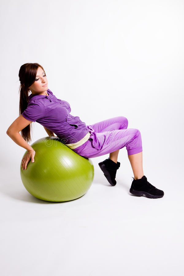 Download Sportswoman With A Fitness Ball Stock Photo - Image of beautiful, slender: 17029816