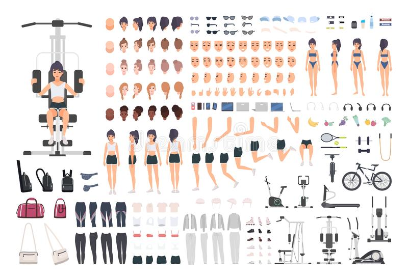 Sportswoman or fitness girl DIY kit. Set of woman`s body parts, postures, sports equipment, exercise machines isolated vector illustration