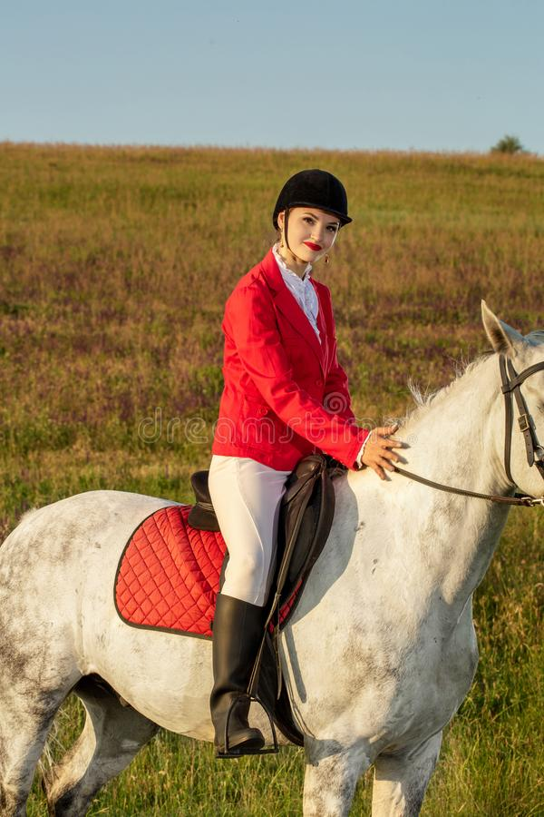 The horsewoman on a red horse. Horse riding. Horse racing. Rider on a horse. stock image