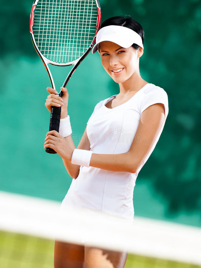 Download Sportswoman With Racket At The Tennis Court Stock Photo - Image: 27365962