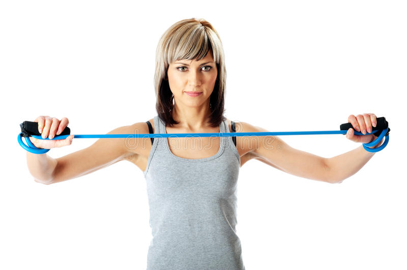 Download Sportswoman With Resistance Band Stock Image - Image: 11720823