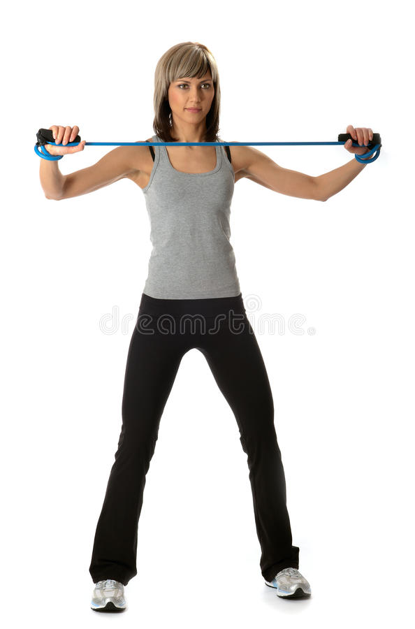 Download Sportswoman With Resistance Band Royalty Free Stock Image - Image: 11881786
