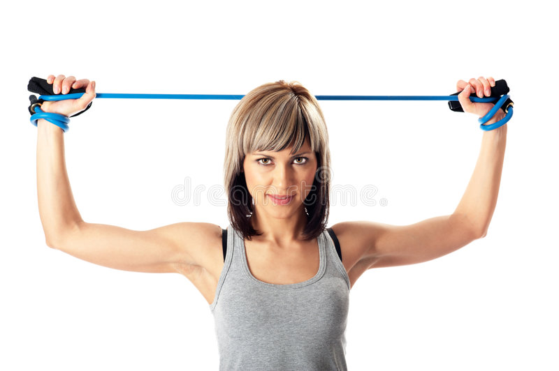 Sportswoman With Resistance Band Royalty Free Stock Photo