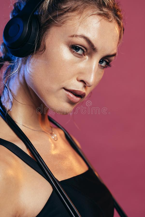 Sportswoman resting after workout stock photos