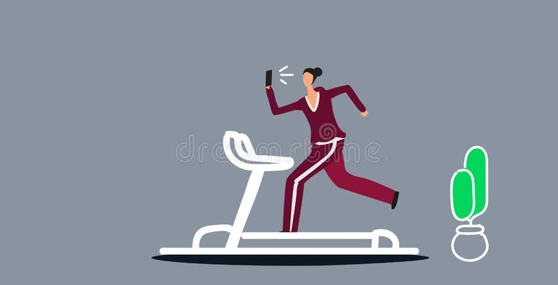 Sportswoman running on treadmill girl using phone taking selfie on smartphone camera social media network healthy stock illustration