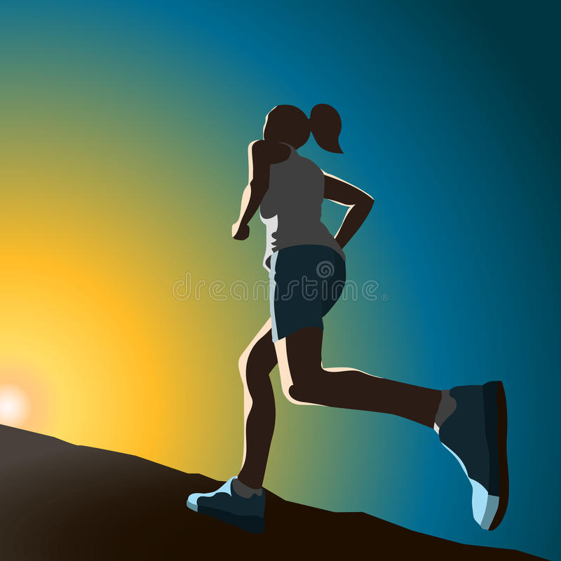 A sportswoman running up the hill stock photo