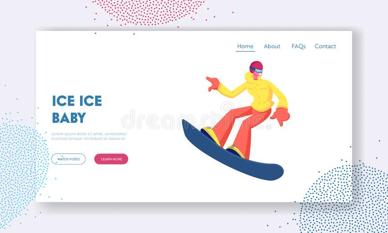Sportswoman Snowboarder Having Fun on Ski Resort Website Landing Page. Happy Girl Riding Snowboard Downhill stock illustration