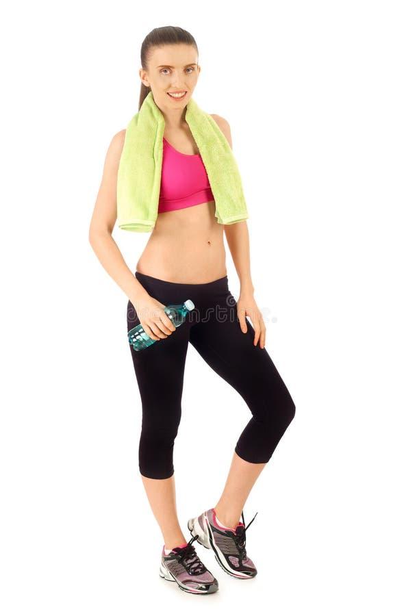 Sportswoman on white stock image