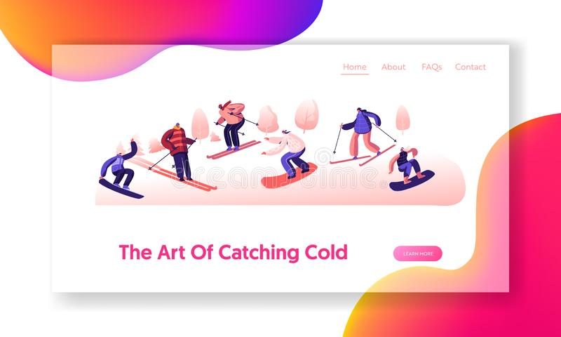 Sportswomen Having Fun on Ski Resort Website Landing Page. Happy People Riding Snowboard and Skis by Snow Slopes royalty free illustration