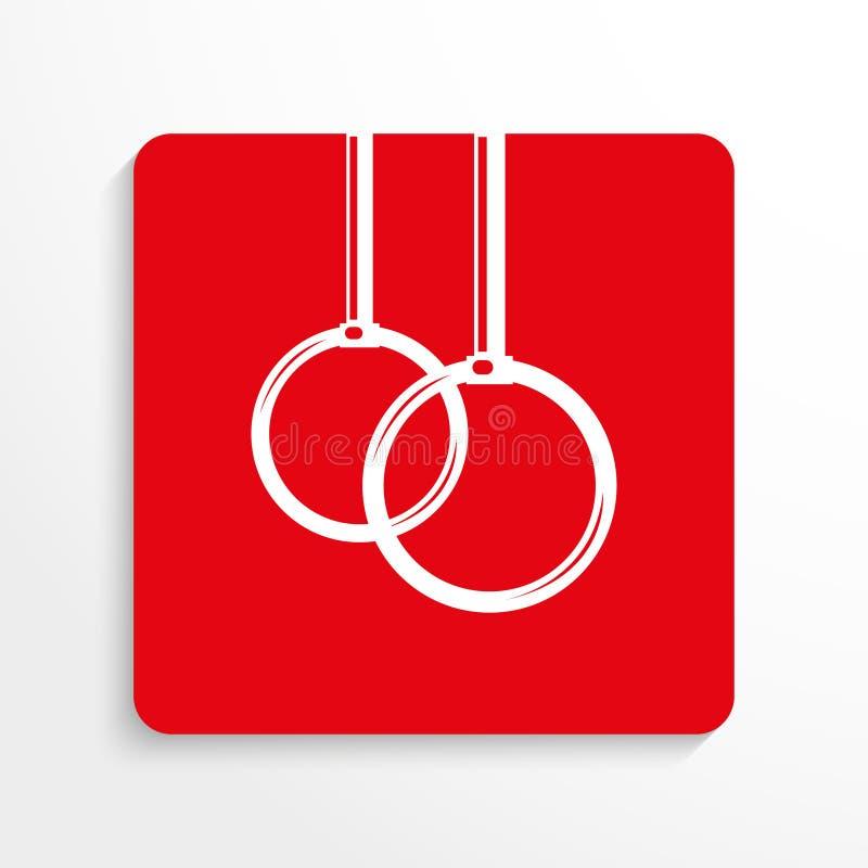 Sportsymboler Övningar på cirklarna gears symbolen Röd och vit bild på en ljus bakgrund med en skugga royaltyfri illustrationer
