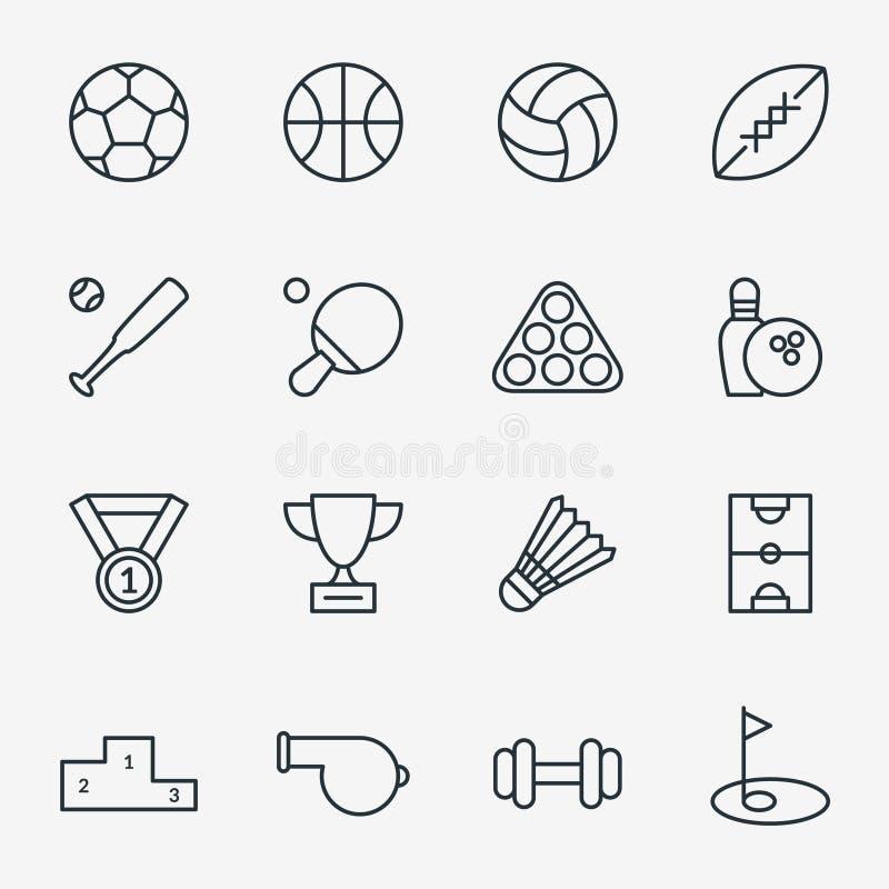 Sportsymboler i den tunna linjen stil stock illustrationer