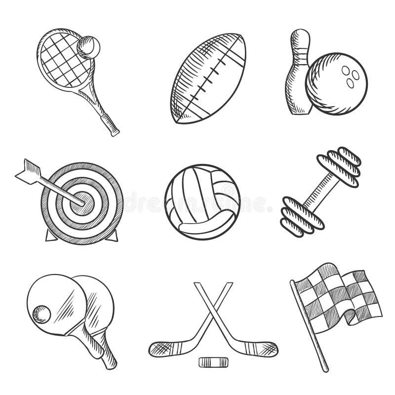 Sportsymboler och objekt skissar in stil stock illustrationer