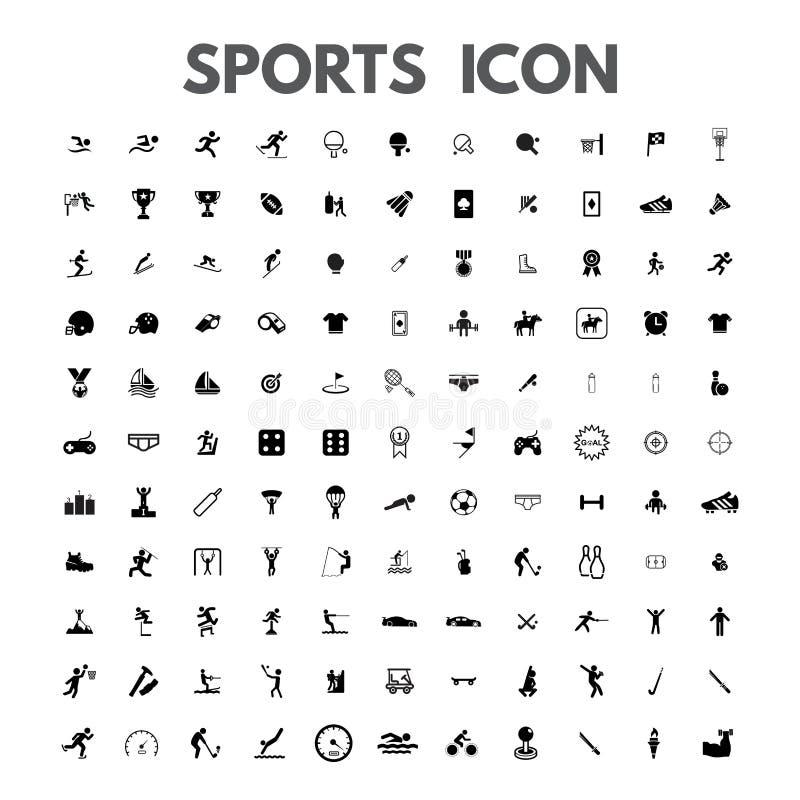 Sportsymboler ställde in den fantastiska vektorillustrationtrofén, dobbel, simning, spring, medaljen, bowlingen, idrottshallen, f stock illustrationer