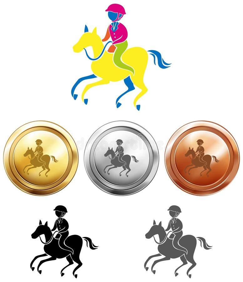 Sportsymbolsdesign för esquestrain och medaljer vektor illustrationer