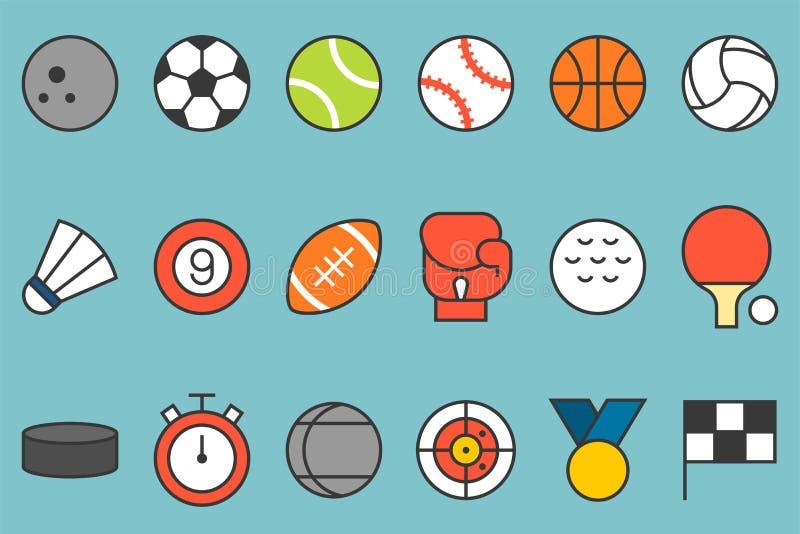 Sportsymbolsuppsättning vektor illustrationer