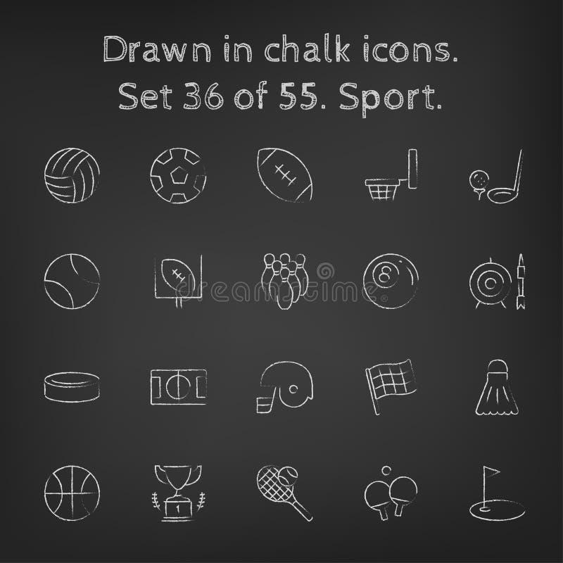 Sportsymbolsuppsättning som dras i krita vektor illustrationer