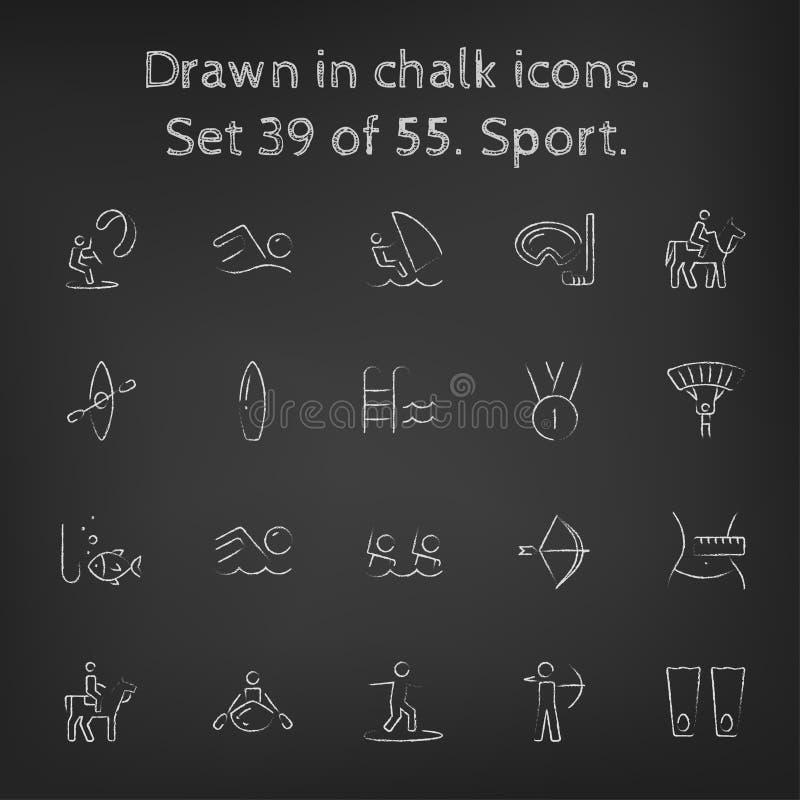 Sportsymbolsuppsättning som dras i krita royaltyfri illustrationer