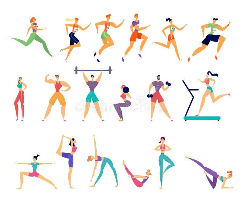 Sportt?tigkeitssatz Mann und weibliches Sportler-Charakter-Training Yoga, Marathonlaufen, Eignung, Bodybuilding lizenzfreie abbildung