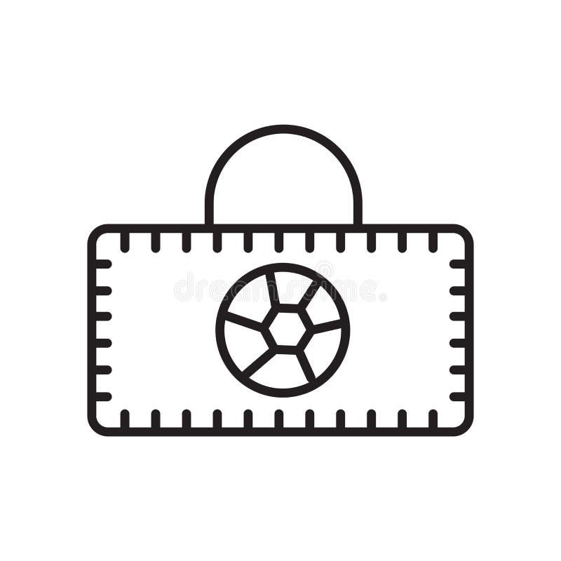 Sporttaschen-Ikonenvektor lokalisiert auf weißem Hintergrund-, Sporttaschenzeichen, Zeichen und Symbolen in der dünnen linearen E lizenzfreie abbildung