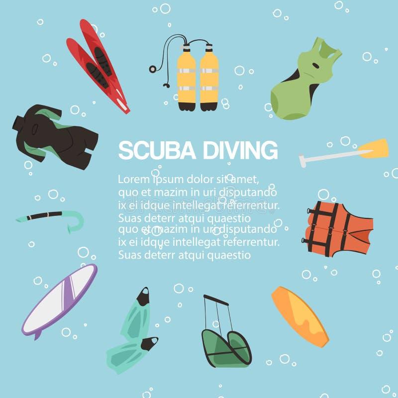 Sporttauchenmitteplakat, Fahnenvektorillustration Taucher Wetsuit, Unterwasseratemgerätmaske, Schnorchel, Flossen, Rettungsring,  vektor abbildung