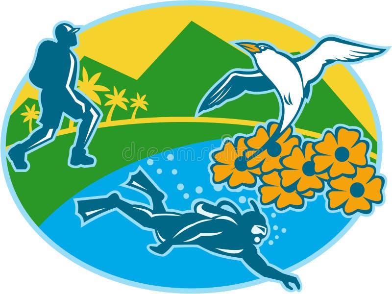 Sporttaucher Hiker Island Tropicbird blüht Retro- stock abbildung