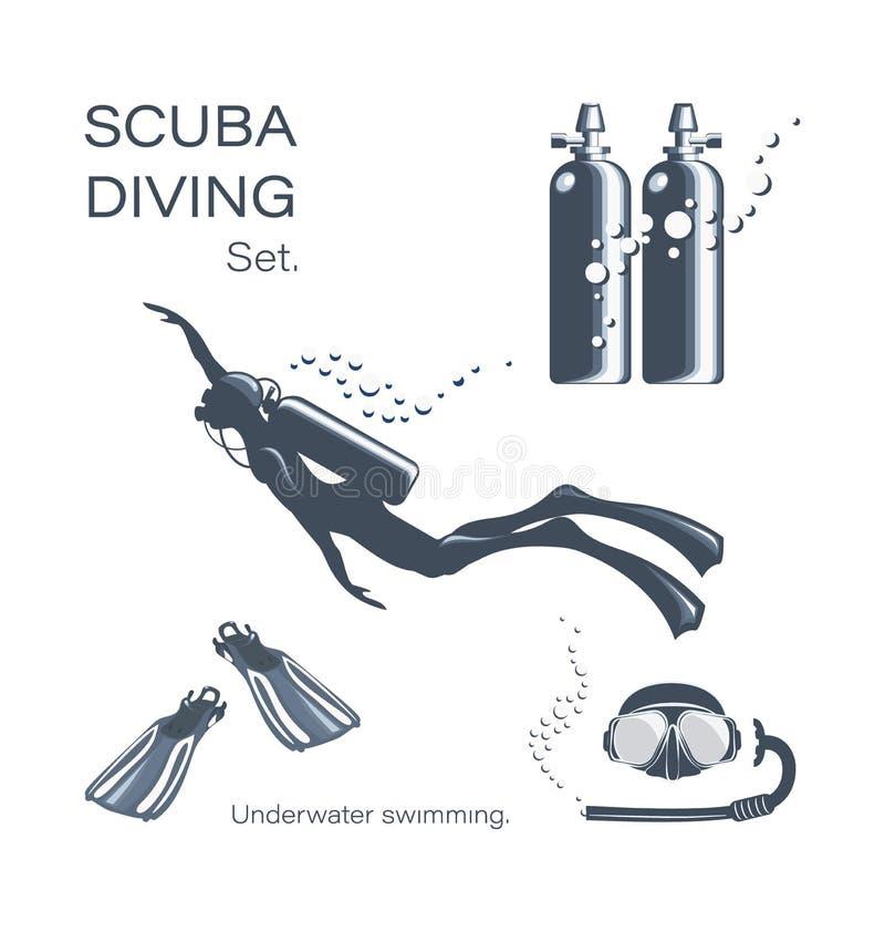 Sporttaucherfrau im Wetsuit, im Unterwasseratemgerät und in den Zusätzen vektor abbildung