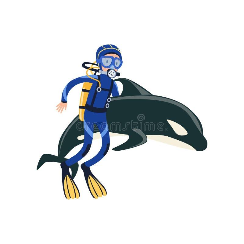 Sporttaucherschwimmen mit Delphin Aktive Sommererholung und -ferien Taucher und Fische Mann im Wetsuit, Maske lizenzfreie abbildung