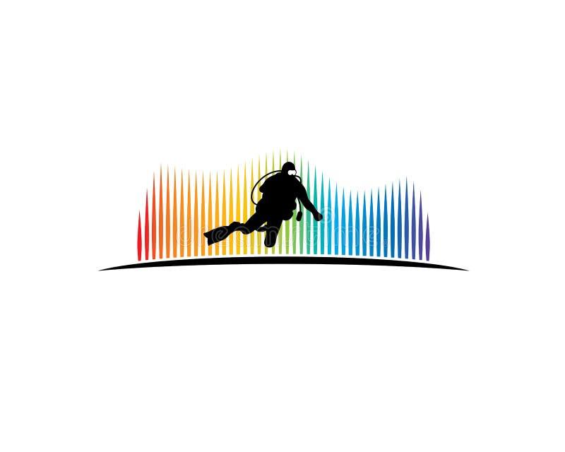 Sporttauchertauchen im Tiefsee mit aurora borealis stock abbildung