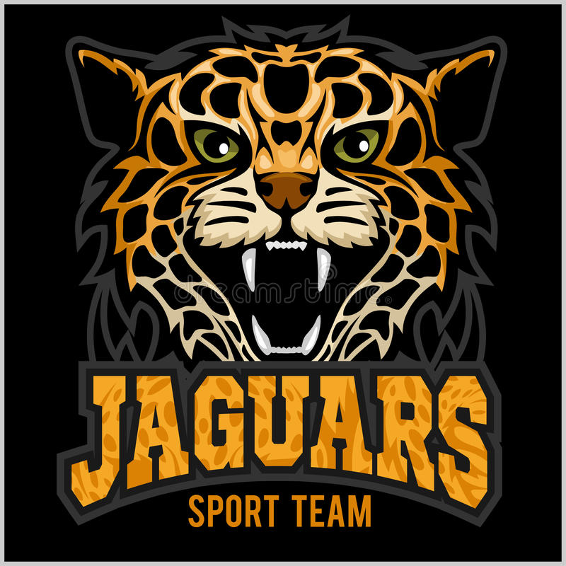 Sportteam - Jaguar, wilde kattenpanter Vectorillustratie, zwarte achtergrond, schaduw vector illustratie