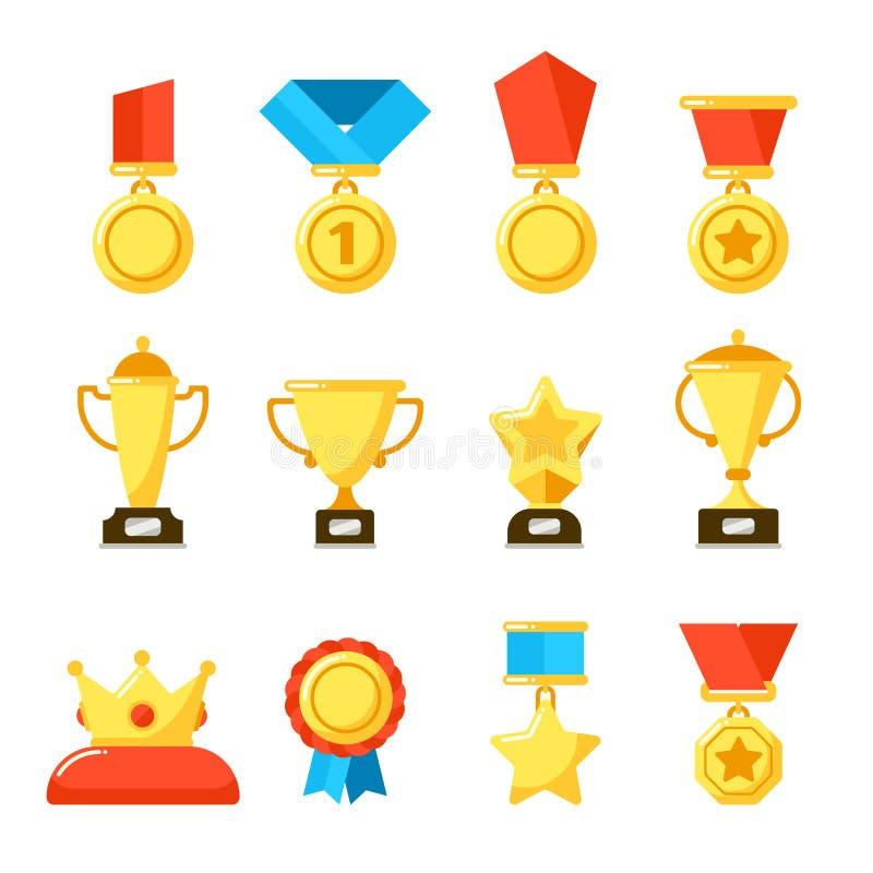 Sporttroféutmärkelse, guld- mästerskapbägare och tilldela belöningkoppen Guld- utmärkelser på symboler för belöningceremonivektor stock illustrationer