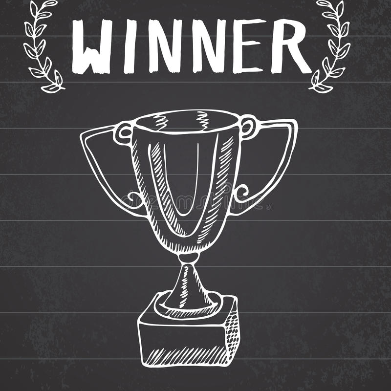 Sporttrophäen-Skizzengekritzel Hand gezeichnete Sieger prize auf Tafelhintergrund lizenzfreie abbildung