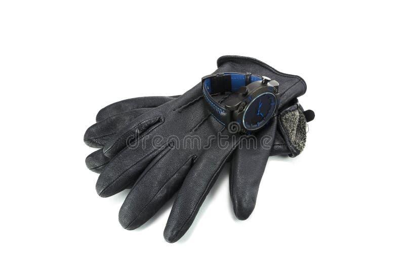 Sportuhren und -Lederhandschuhe für Männer lizenzfreies stockbild