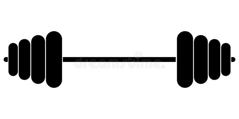 Sportuitrustinggeschiktheid barbell, vectorspier opheffend pictogram, geïsoleerde oefeningsdomoren, vectorgewichtheffensymbool royalty-vrije illustratie